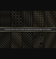 Collection of art deco geometric patterns vector