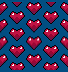 color pixel heart games seamless pattern vector image