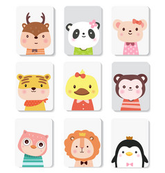 Cute baby animal cartoon for printingcard t vector