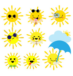 cute cartoon summer sun on white background vector image