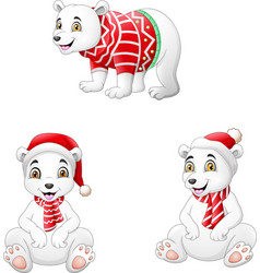 cute polar bear set in winter clothes vector image