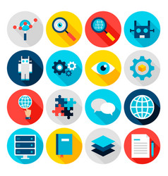 Deep learning flat icons vector
