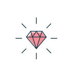 Diamond line gem icon crystal value vector