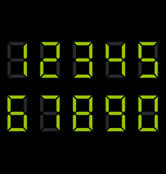 digit electronic numbers watch display black green vector image