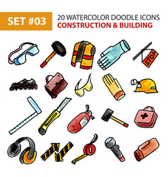 doodle icons set - construction and building vector image