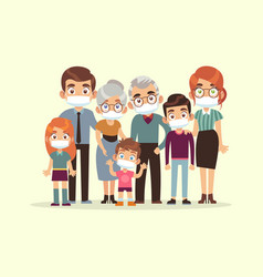 family quarantined parents grandparents and kids vector image