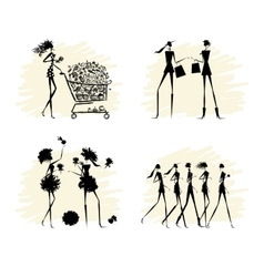 Fashion girls black silhouettes collection vector image vector image