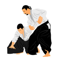 Fight between aikido fighters self defense skills vector