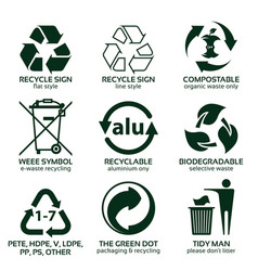 Flat icon set for green eco packaging vector