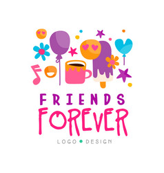 Friends forever logo template with cup of tea vector