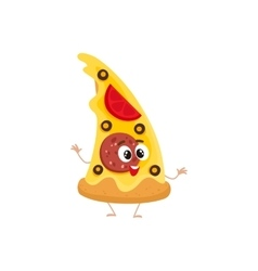 Funny slice of pizza fast food kids menu character vector image