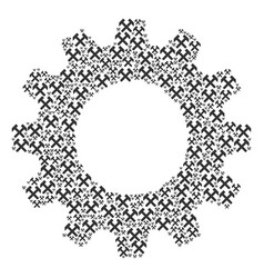 gearwheel mosaic of hammers icons vector image