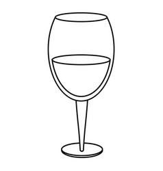 Glass cup wine drink thin line vector