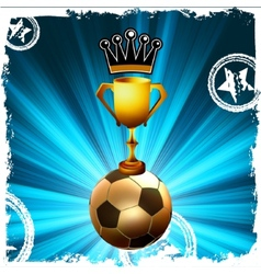Gold football trophy and crown behind flash EPS8 vector
