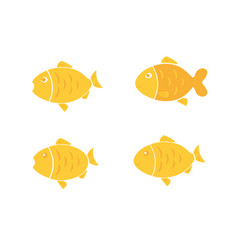 golden fish set vector image
