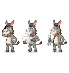 Gray Donkey Mascot with tools vector image