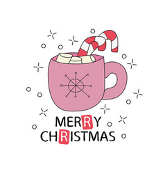 greeting card with cup of cocoa merry christmas vector image