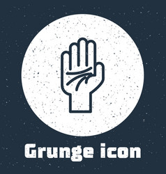 Grunge line palmistry hand icon isolated on vector