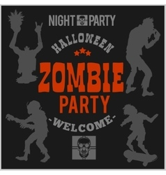 Halloween party poster with zombie head vector