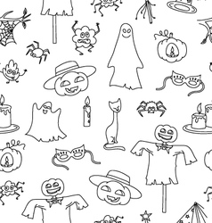 Halloween seamless pattern with bat pumpkin ghost vector image