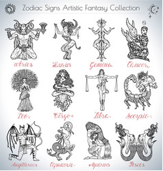 Hand drawn collection with zodiac signs icons vector