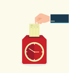 Hand putting paper card in time recorder machine vector