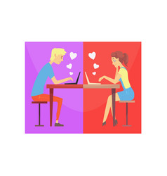 happy man and woman in love chatting online vector image