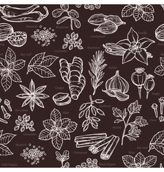 Herbs And Spice Sketch Seamless Pattern vector