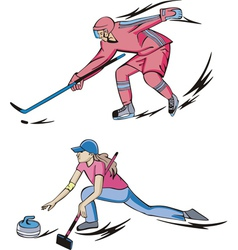 Ice Hockey and Curling vector image