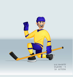 ice hockey player sliding vector image