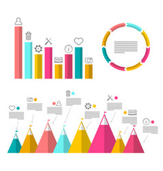 infographic elements with graphs flat design vector image