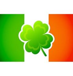 Irish flag with Four-leaf clover vector
