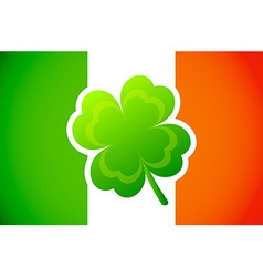 Irish flag with Four-leaf clover vector image