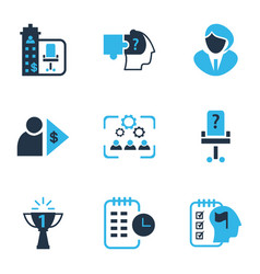 job icons colored set with businesswoman self vector image