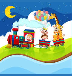 Kids and animals riding on train at night vector