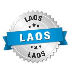 Laos round silver badge with blue ribbon vector