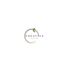 Leaf circle naturally label creative business logo vector