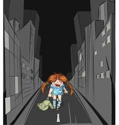 lost girl in the big city vector image