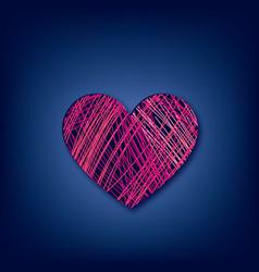 love heart line drawn over dark blue background vector image
