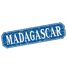 Madagascar blue square grunge retro style sign vector