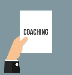 man showing paper coaching text vector image