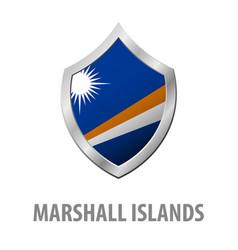 Marshall islands flag on metal shiny shield vector