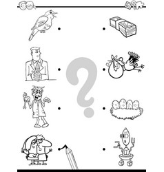 Match objects educational coloring book vector