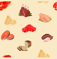 meat cheese seafood products seamless pattern vector image