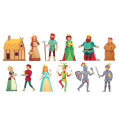 Medieval historical characters historic royal vector