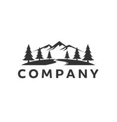 mountain logo inspiration with river vector image