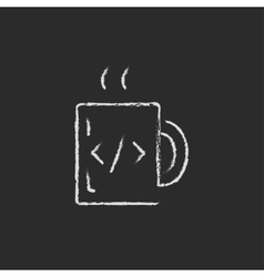 Mug with hot coffee drawn in chalk vector image