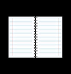 open notebook with white page on black background vector image