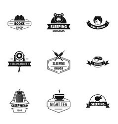 Overnight logo set simple style vector