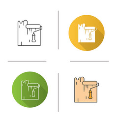 paint roller dyeing wall icon vector image